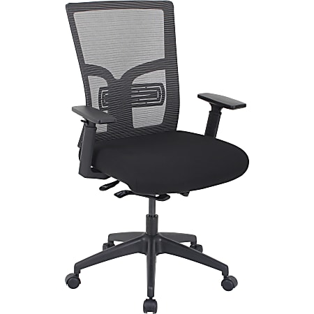 Lorell® Mid-Back Mesh/Fabric Chair With Adjustable Lumbar Support, Black