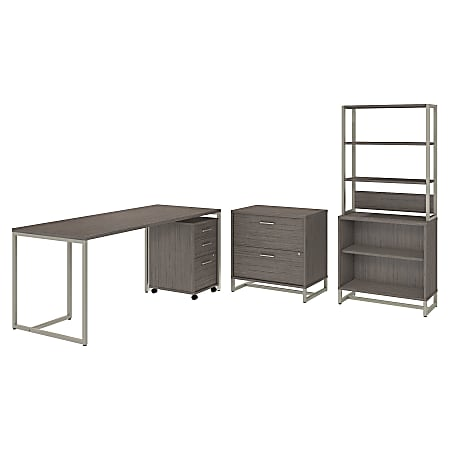 """kathy ireland® Office by Bush Business Furniture Method 72""""W Table Desk with File Cabinets and Bookcase, Cocoa, Standard Delivery"""