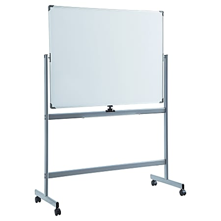 "Lorell® Magnetic Dry-Erase Whiteboard Easel, 48"" x 72"", Aluminum Frame With Silver Finish"