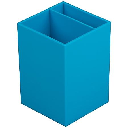 "JAM Paper® Pen Holder, 3-7/8""H x 2-3/4""W x 2-3/4""D, Blue"