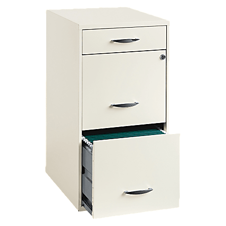 """Lorell® 18""""D Vertical 3-Drawer File Cabinet, Metal, Pearl White"""