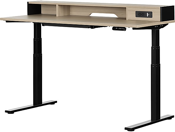 "South Shore Zelia 60""W Height-Adjustable Standing Desk, Soft Elm/Matte Black"