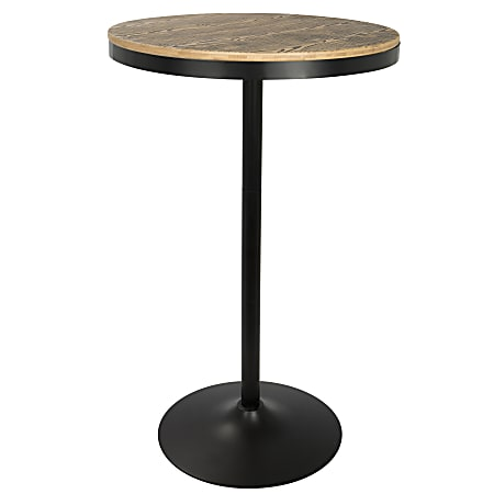 Lumisource Dakota Industrial Adjustable Bar/Dinette Table, Round, Medium Brown/Black