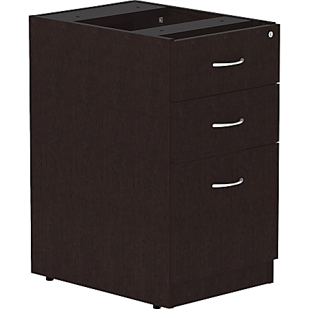 "Lorell® Essentials 22""D Vertical 3-Drawer Pedestal File Cabinet, Espresso"