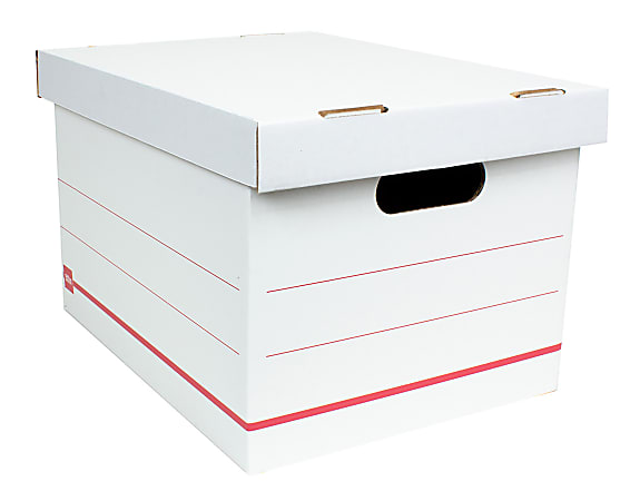 "Office Depot® Brand Standard-Duty Corrugated Storage Boxes, Letter/Legal Size, 15"" x 12"" x 10"",  60% Recycled, White/Red, Case Of 15"