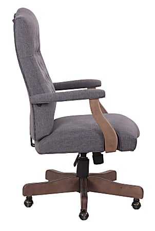 Boss Tufted Ergonomic Fabric High-Back Office Chair, Slate Gray/Driftwood