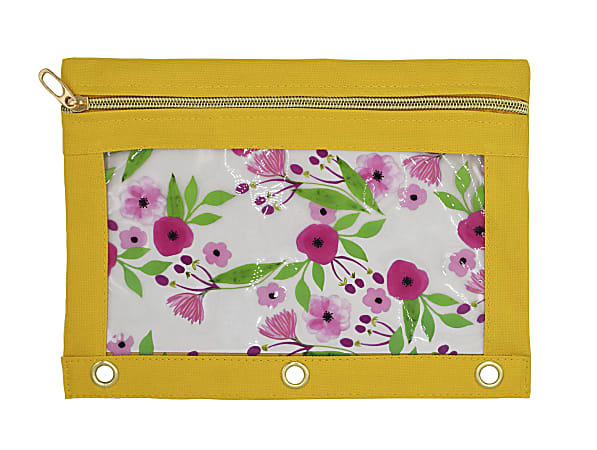 "Office Depot® Brand 3-Ring Clear Fashion Pencil Pouch, 7-1/2"" x 10"", Yellow Floral"