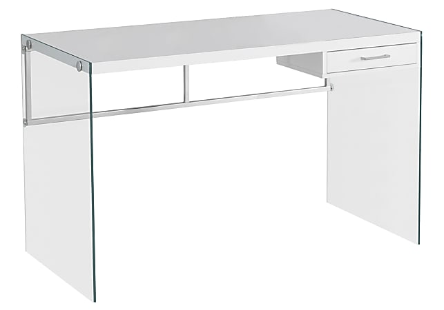 Monarch Specialties Computer Desk With Glass Base, White