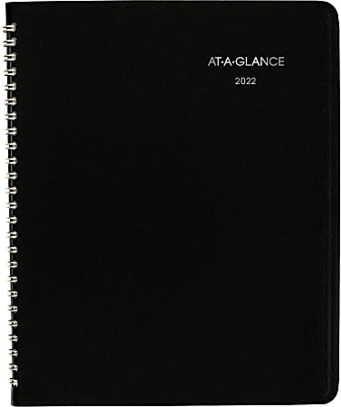 """AT-A-GLANCE® DayMinder Monthly Planner, 7"""" x 8-3/4"""", Black, January To December 2022, G40000"""