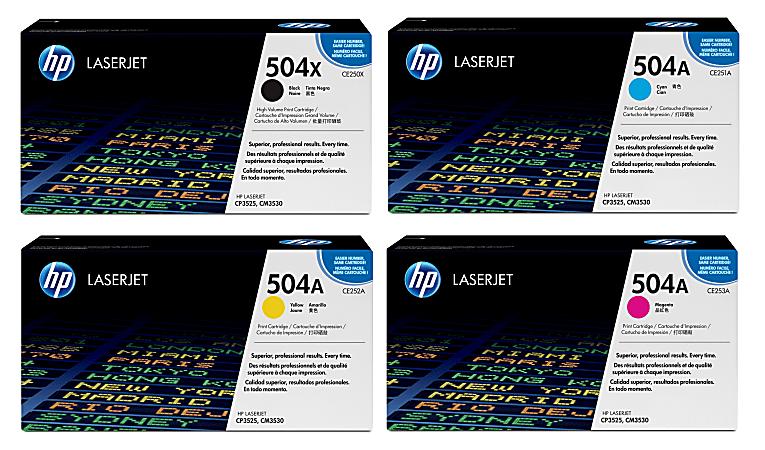 HP 504X/A HP504XASET-OD 4-Color Original Toner Cartridges, Pack Of 4 Cartridges