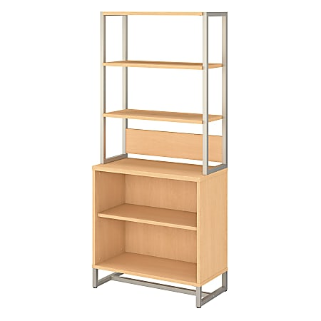 kathy ireland® Office by Bush Business Furniture Method Bookcase With Hutch, Natural Maple, Standard Delivery