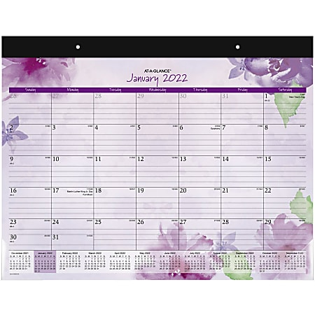 """AT-A-GLANCE® Beautiful Day Monthly Desk Pad Calendar, 21-3/4"""" x 17"""", January To December 2022, SK38-704"""