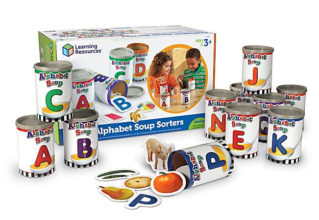 "Learning Resources® Alphabet Soup Sorters, 3"" x 4 1/4"", Multicolor, Pre-K - Grade 2"