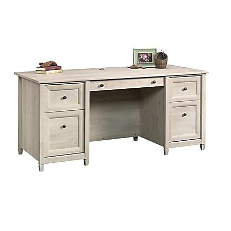 """Sauder® Edge Water 66""""W Executive Desk, Chalked Chestnut"""