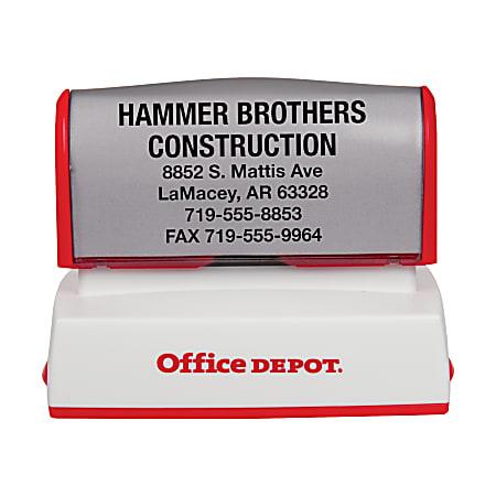 "Custom Office Depot® Brand Pre-Inked Stamp, 1-1/2"" x 2-7/16"" Impression"
