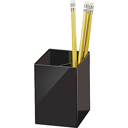 """OIC 3-Compartment Pencil Cup - 4"""" x 2.9"""" x 2.9"""" - 1 Each - Black"""