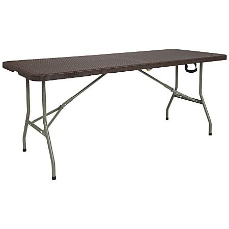 """Flash Furniture Bi-Fold Rattan Plastic Folding Table, 29""""H x 29""""W x 71""""D, Brown"""