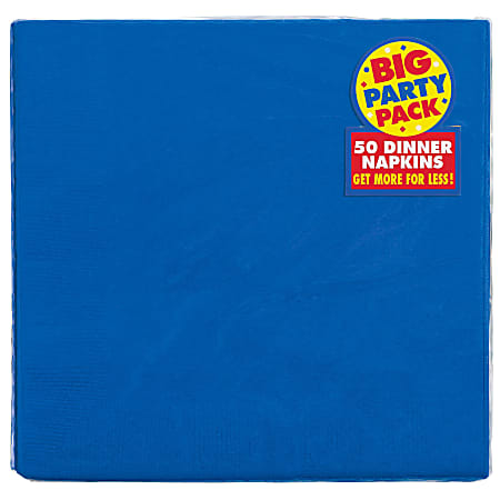 "Amscan 2-Ply Paper Dinner Napkins, 7-3/4"" x 7-3/4"", Royal Blue, 50 Napkins Per Pack, Set Of 2 Packs"