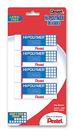 Pentel® Hi-Polymer Erasers, White, Pack Of 4