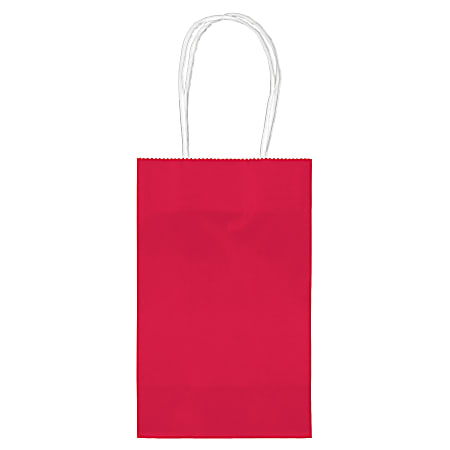 """Amscan Paper Solid Cub Gift Bags, 8-1/4""""H x 5-1/4""""W x 3-1/4""""D, Apple Red, Pack Of 40 Bags"""