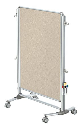 """Ghent Nexus Jr Partition Double-Sided Mobile Magentic Fabric/Non-Magnetic Dry-Erase/Bulletin Board, 34 1/4"""" x 46 1/4"""", Beige Board/Silver Aluminum Frame"""
