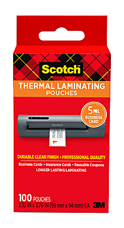 """Scotch® Thermal Laminating Pouches for Business Cards, 2-5/16"""" x 3-7/10"""", Pack Of 100 Sheets, TP5851-100"""