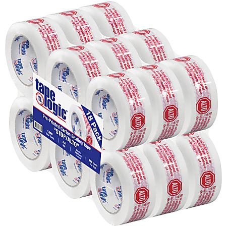 "Tape Logic® Preprinted Stop/Alto Carton Sealing Tape, 3"" Core, 2"" x 110 Yd., Red/White, Case Of 18"