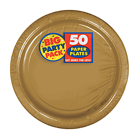 """Amscan Big Party Pack 7"""" Round Paper Plates, Gold, 50 Plates Per Pack, Set Of 2 Packs"""
