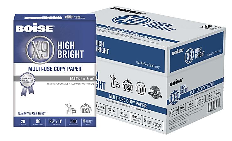 Boise® X-9® High Bright Multi-Use Copy Paper, Letter Size Paper, 96 Brightness, 20 Lb, White, 500 Sheets Per Ream, Case Of 10 Reams