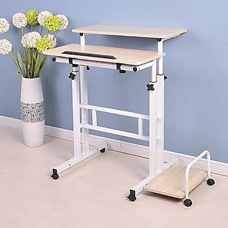 "Mind Reader 27""W 2-Tier Sit And Stand Desk, White"