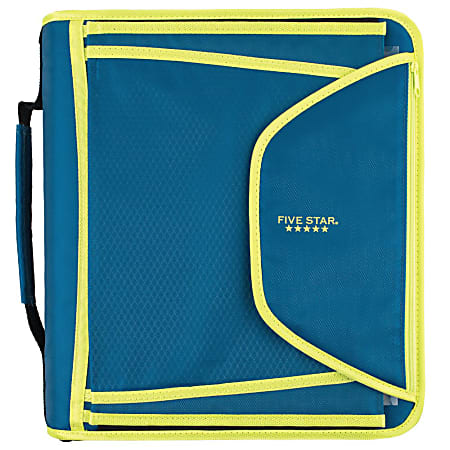 """Five Star® Zipper 3-Ring Binder With Expanding File, 2"""" Round Rings, Teal/Chartreuse"""