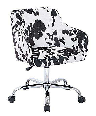 Office Star™ Avenue Six Bristol Task Chair, Fabric, Udder Madness Domino/Silver