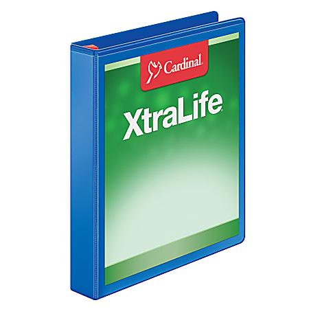 "Cardinal® XtraLife™ Locking Slant-D® Ring 3-Ring Binder, 1"" D-Rings, 55% Recycled, Blue"