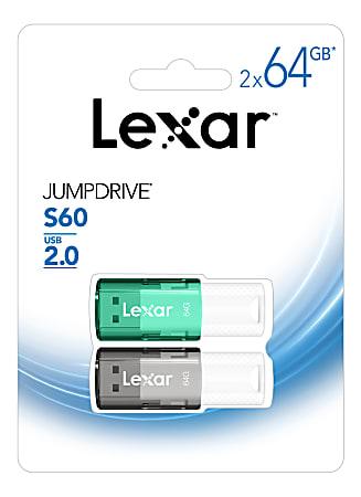 Lexar® JumpDrive® S60 USB 2.0 Flash Drives, 64GB, Black/Teal, Pack Of 2 Flash Drives, LJDS60-64GB2NNU