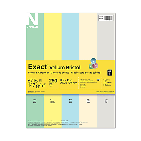 """Exact® Vellum Bristol Cover Stock, 8 1/2"""" x 11"""", 67 Lb, Assorted Colors, Pack Of 250 Sheets"""