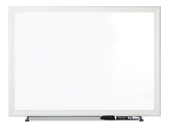 """Office Depot® Brand Non-Magnetic Melamine Dry-Erase Whiteboard With Marker, 24"""" x 36"""", Aluminum Frame With Silver Finish"""