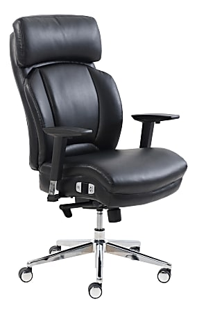 Lorell® Lumbar Support Bonded Leather High-Back Chair, Black