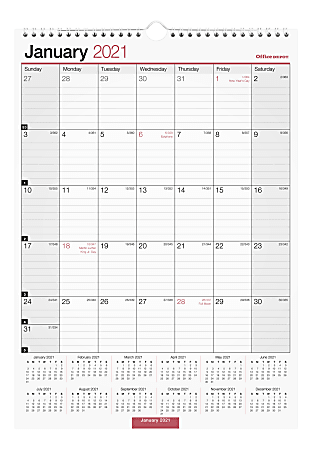 "Office Depot® Brand Monthly Wall Calendar, 12"" x 17"", White, January To December 2021, OD301628"