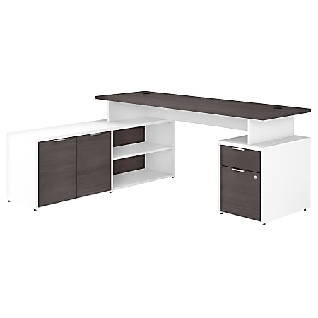 """Bush Business Furniture Jamestown L-Shaped Desk With Drawers, 72""""W, Storm Gray/White, Standard Delivery"""