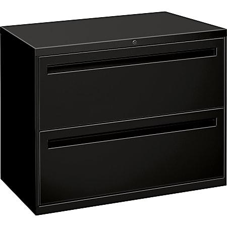 "HON® Brigade® 700 36""W Lateral 2-Drawer File Cabinet, Metal, Black"