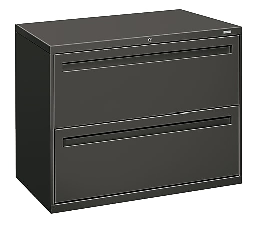 """HON® Brigade® 700 36""""W Lateral 2-Drawer File Cabinet, Metal, Charcoal"""
