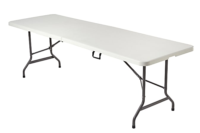 Realspace® Molded Plastic Top Folding Table, 8' Wide Fold in Half, Platinum