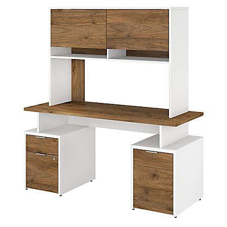 """Bush Business Furniture Jamestown Desk With Drawers, Storage Cabinet And Hutch, 60""""W, Fresh Walnut/White, Premium Installation"""