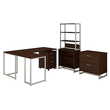 """kathy ireland® Office by Bush Business Furniture Method 72""""W L-Shaped Desk With 30""""W Return, File Cabinets And Bookcase, Century Walnut, Standard Delivery"""