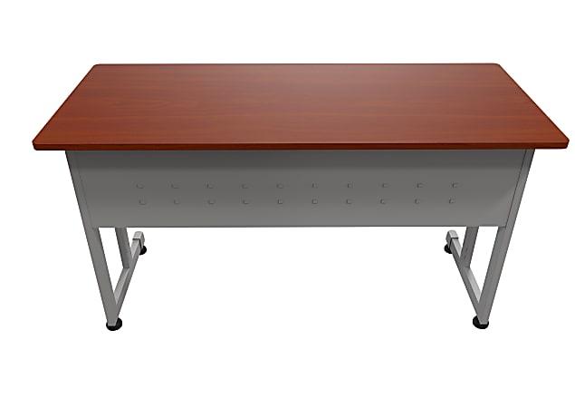 """Linea Italia, Inc. 55""""W Computer Desk, Gray/Cherry"""