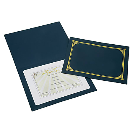 "SKILCRAFT® Certificate/Document Cover, 8 1/2"" x 11"", 8"" x 10"", A4, Blue/Gold, Pack Of 5 (AbilityOne 7510-01-519-5771)"