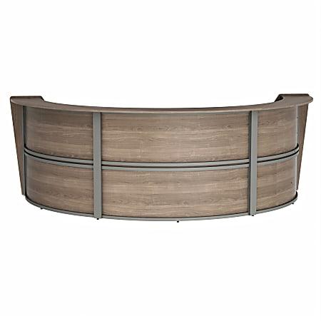 "Linea Italia, Inc 143""W 3-Unit Curved Reception Desk, Natural Walnut"
