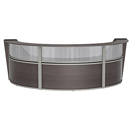 "Linea Italia, Inc 3-Unit 143""W Curved Reception Desk, Mocha"