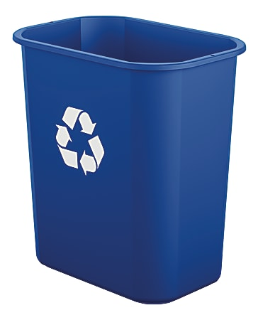 Suncast Commercial Desk-Side Resin Trash Cans With Recycle Label, 3 Gallons, Blue, Set Of 12 Cans