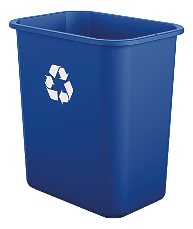 Suncast Commercial Desk-Side Rectangular Resin Recycling Bins, 7 Gallons, Blue, Pack Of 12 Bins